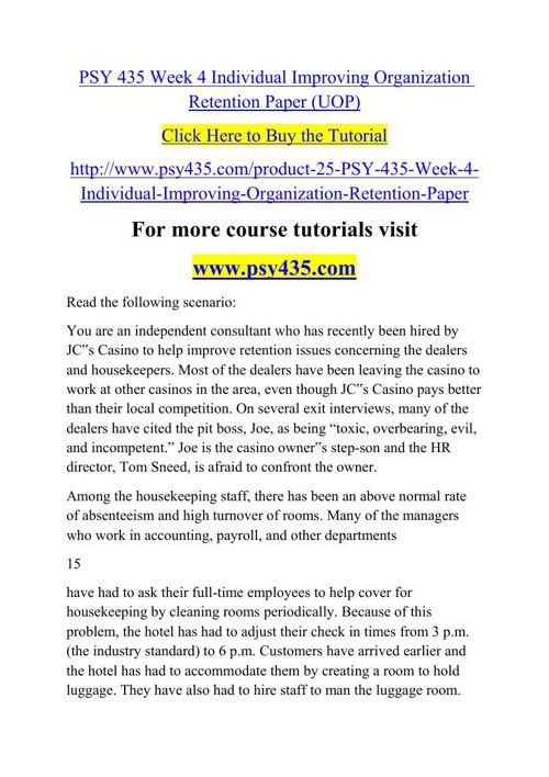 PSY 435 Week 4 Individual Improving Organization Retention Paper