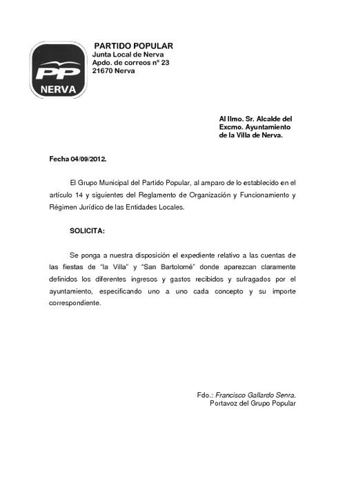 """solicitud fiestas de la """"Villa"""" y """"San Bartolomé"""" 04/09/2012"""