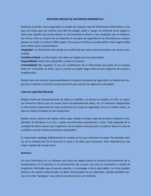 NOCIONES BÁSICAS DE SEGURIDAD INFORMÁTICA