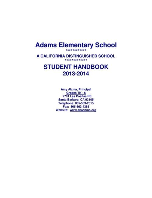 2013-2014 Adams Elementary School Handbook