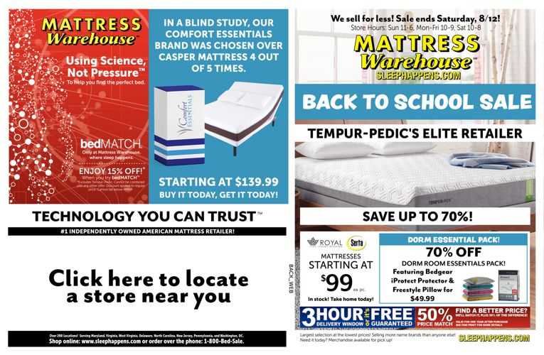 Mattress Warehouse Back to School Sale