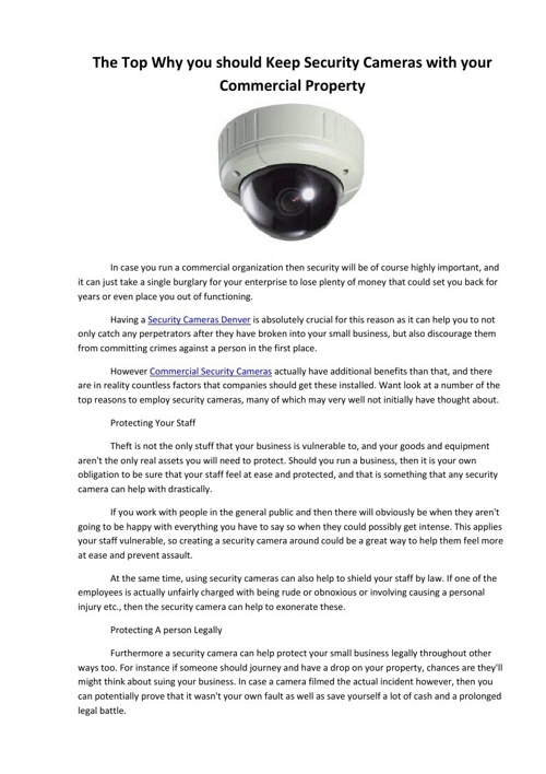 The Top Why you should Keep Security Cameras with your Commercia
