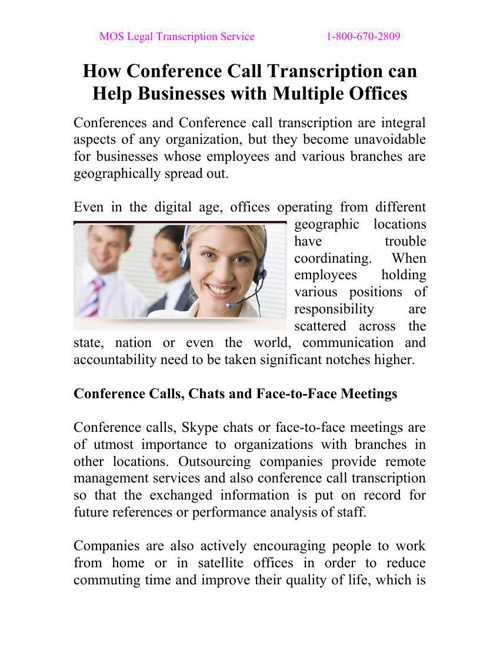 How Conference Call Transcription can Help Businesses with Multi