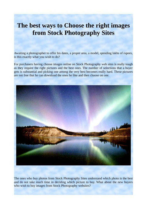 The best ways to Choose the right images from Stock Photography
