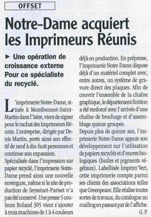 La presse en parle ! Imprimerie Notre Dame