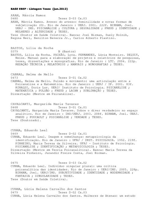 Lista de teses - Biblioteca EBEP 2012