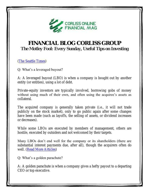 Financial Blog Corliss Group: The Motley Fool