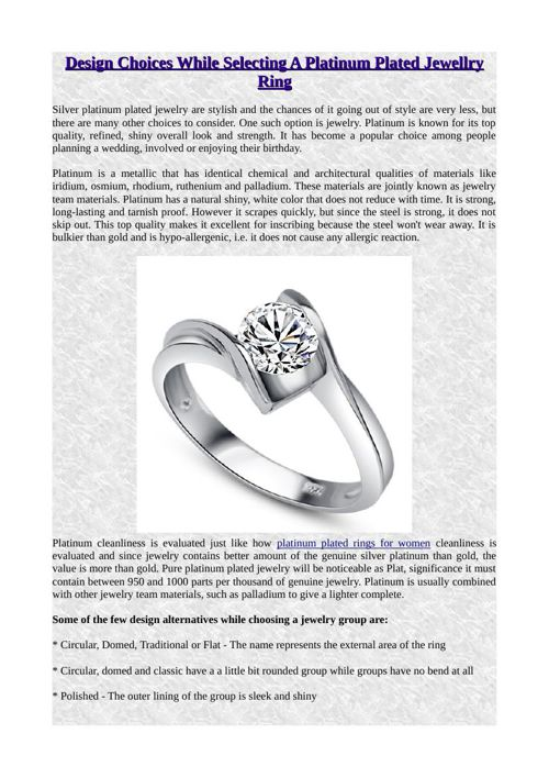 Design Choices While Selecting A Platinum Plated Jewellry Ring