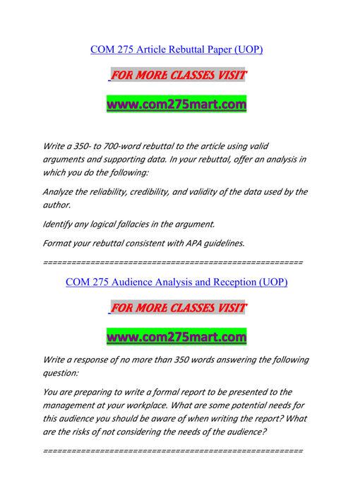 COM 275 MART Experience Tradition/com275mart.com