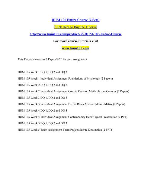 HUM 105 Entire Course (2 Sets)