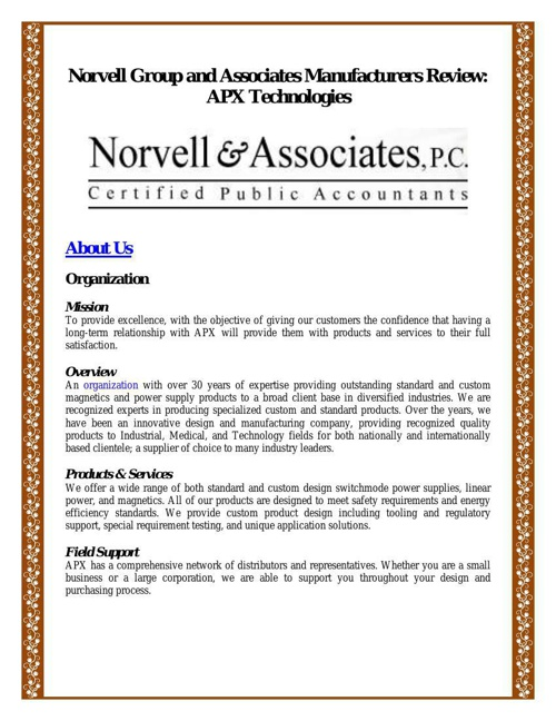 Norvell Group and Associates Manufacturers Review - APX Technolo