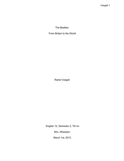 Research Paper The Beatles