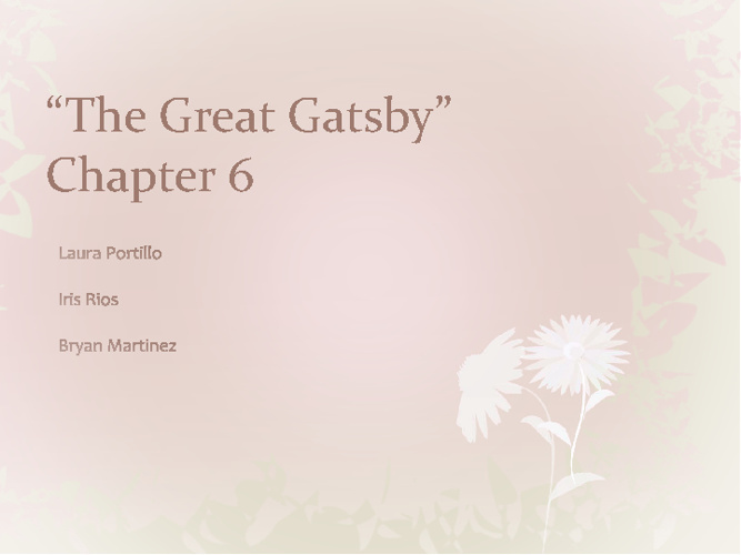 The Great Gatsby- Chapter 6