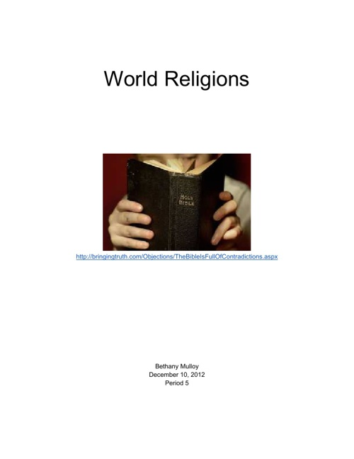 World Religions Bethany Mulloy period 5