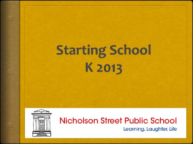 Starting School K 2013