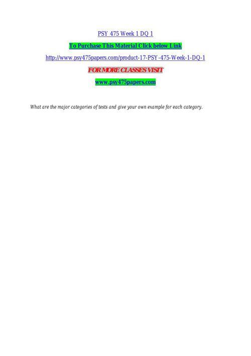 PSY 475 Week 1 DQ 1