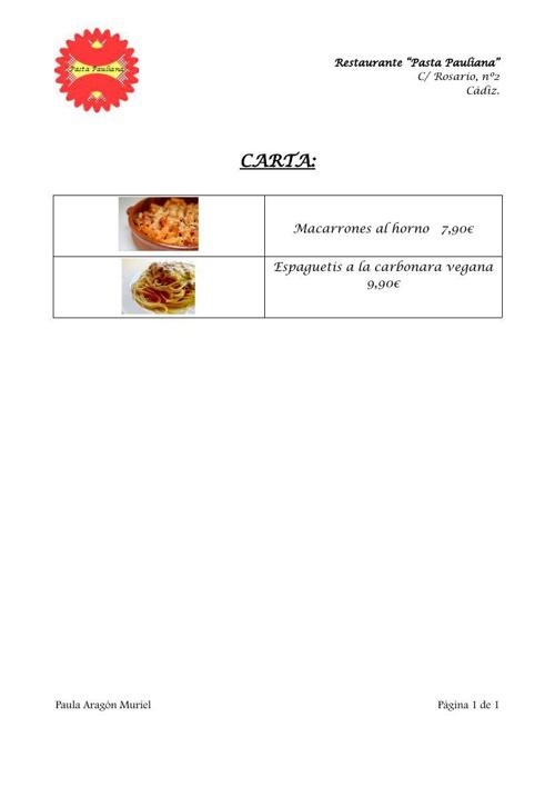 "Restaurante ""Pasta Pauliana"""