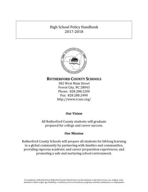 RCS High School Policy Handbook 2017-2018