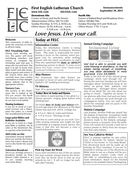 FELC Weekly Announcements for September 29, 2013