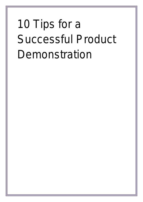 10 Tips for a Successful Product Demonstration