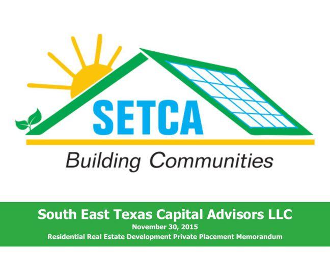 SETCA, LLC Private Placement Memorandum