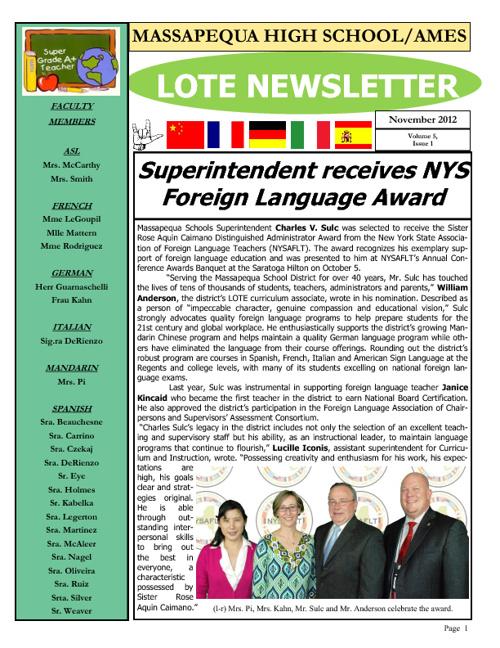 MHS-Ames LOTE Newsletter Nov 2012