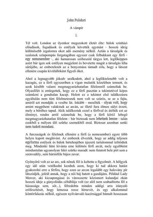 Copy of John Polidori - A vámpír