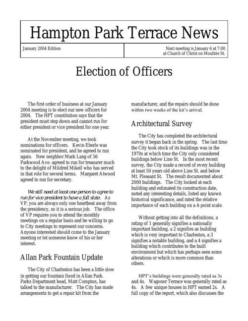 HPT Newsletter January 2004
