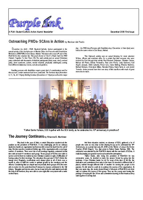 SCA Newsletter - PURPLE INK