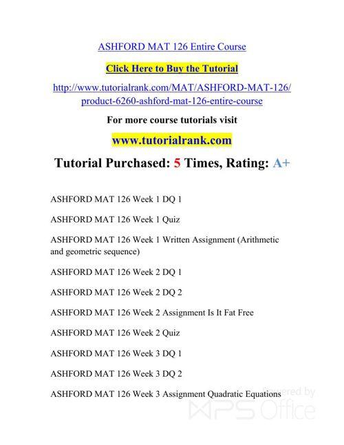 MAT 126 ASH Courses /TutorialRank