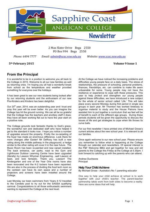 Newsletter Volume 9 Issue 1 2015
