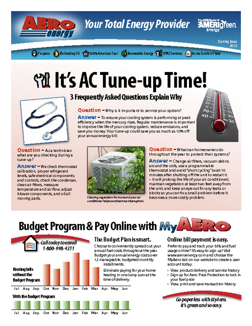 Aero Energy - E-Newsletter, Cooling Edition 2012