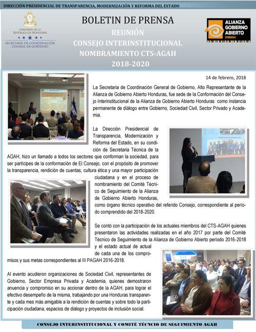BOLETIN REUNION CONSEJO INTERINSTITUCIONAL AGAH 14 de febrero 20