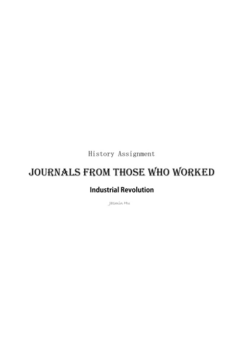 History Assignment-Journals from industrial revolution