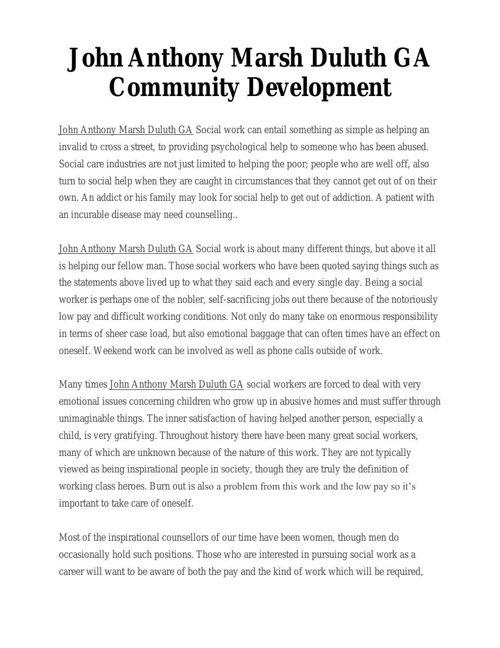 John Anthony Marsh Duluth GA Community Development