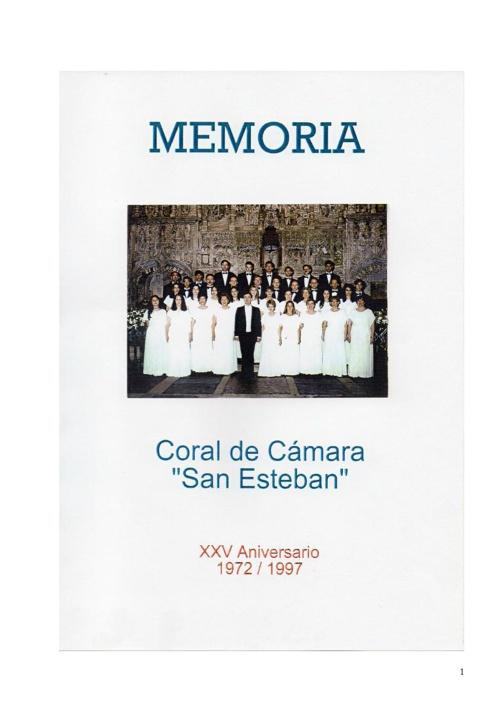 Memoria XXV Aniversario de la Coral de Cámara 'San Esteban…
