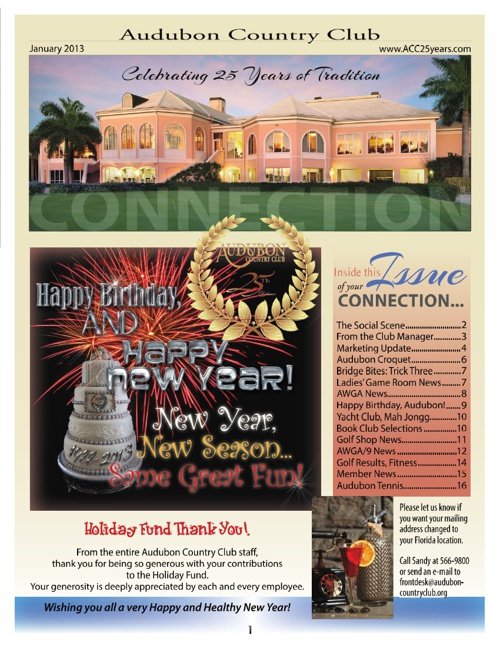 January 2013 Audubon Country Club Newsletter