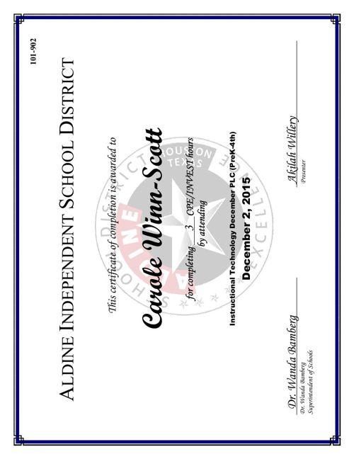 winn-Scott's Certificates