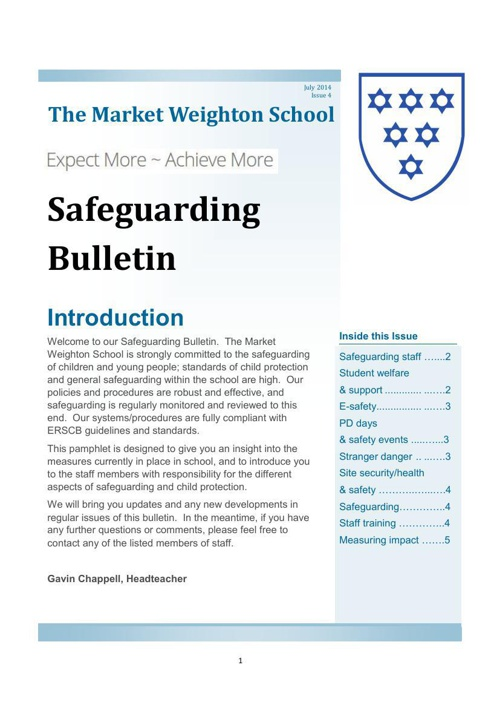 Safeguarding Bulletin Issue 4