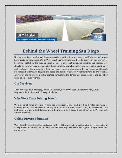 Behind The Wheel Training San Diego