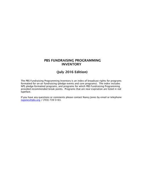 July 2016 Program Inventory