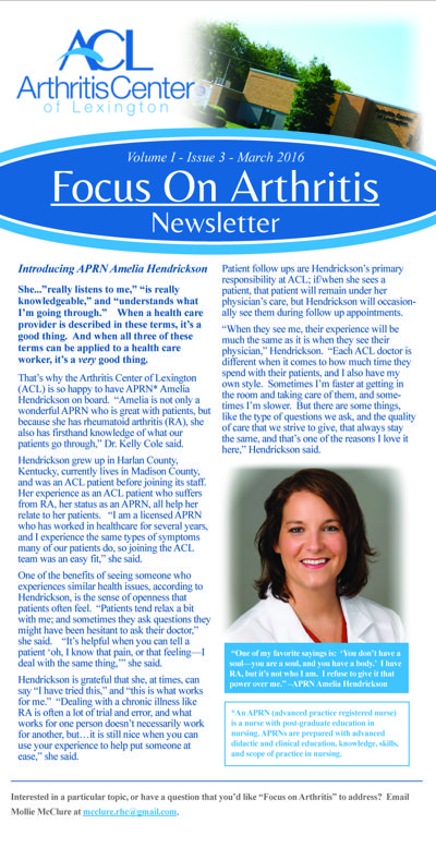 Arthritis Center of Lexington Newsletter 2016