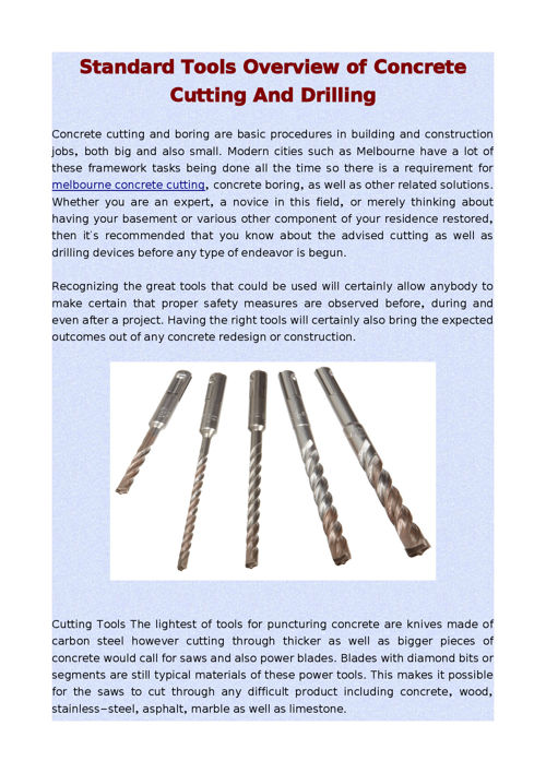 Standard Tools Overview of Concrete Cutting And Drilling