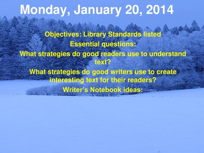 21st week powerpoint agenda Jan 20-24 2014