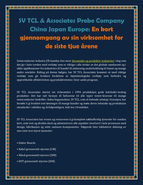 SV TCL & Associates Probe Company China Japan Europe: En kort gj