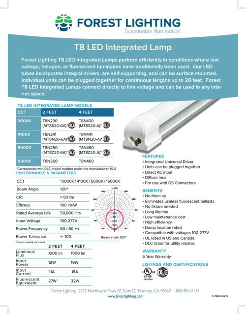 T8 LED Integrated Lamp - Complete Specification
