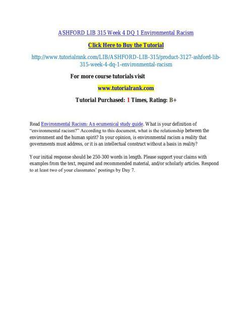 ASHFORD LIB 315 Week 4 DQ 1 Environmental Racism