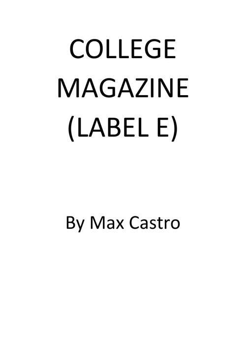 College Magazine (LABEL-E)