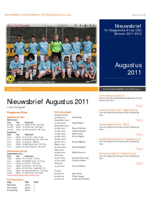 Nieuwsbrief 2011-08