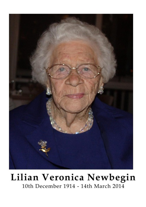 4 Order of Service for Lillian Veronica Newbegin